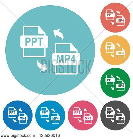 Ppt Mp4 File Conversion Flat White Icons On Round Color Backgrounds
