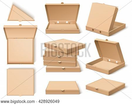 Cardboard Pizza Box. Realistic Craft Paper Food Packing Template, Open, Closed, Different Viewing An