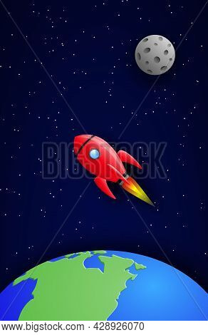 A Rocket Flying Among The Earth And The Moon In A Starry Galactic Space. Vector Illustration In Pape