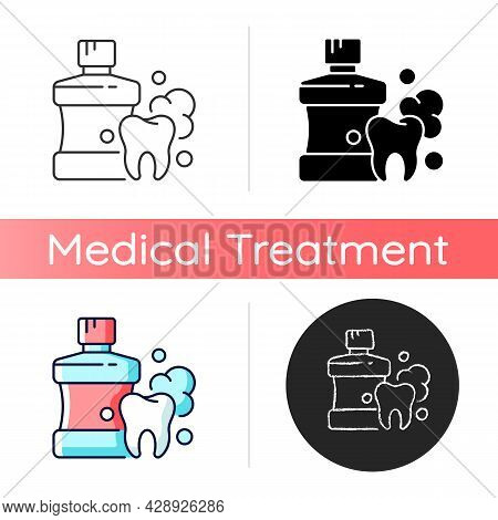 Mouthwash For Teeth Health Icon. Oral Rinse. Fighting Plaque Buildup. Preventing Teeth Decay. Oral H