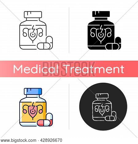 Pills For Period Cramps Icon. Relieve Painful Menstruation. Anti-inflammatory Drug. Period Pain Trea