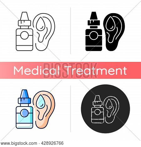 Ear Drops Icon. Earwax Removing. Ear Infections, Inflammations Prevention. Acute Otitis Media Treatm