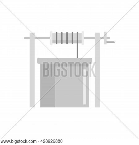 Concrete Water Well Icon. Flat Illustration Of Concrete Water Well Vector Icon Isolated On White Bac