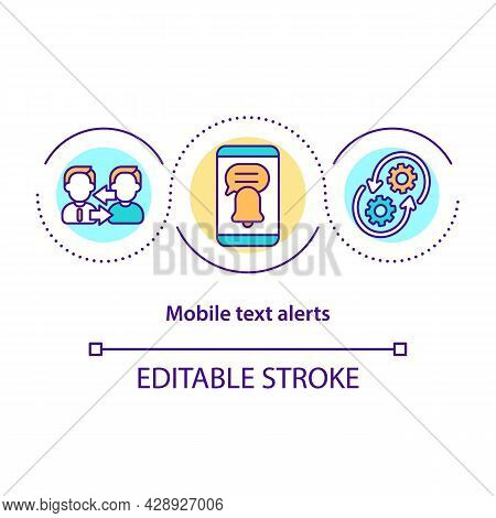 Mobile Text Alert Concept Icon. Smartphone App Notifications. Reminder For Inbox Mail. Messaging Sof