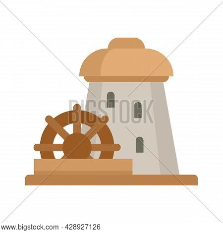 Water Mill Tower Icon. Flat Illustration Of Water Mill Tower Vector Icon Isolated On White Backgroun