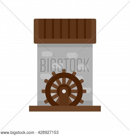 Flour Water Mill Icon. Flat Illustration Of Flour Water Mill Vector Icon Isolated On White Backgroun
