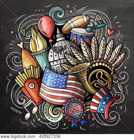 Usa Cartoon Vector Doodle Chalkboard Illustration