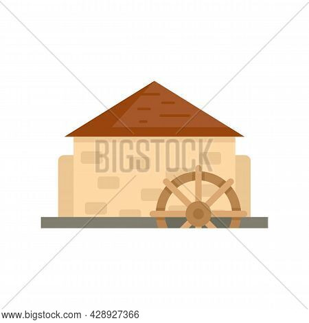 Antique Water Mill Icon. Flat Illustration Of Antique Water Mill Vector Icon Isolated On White Backg