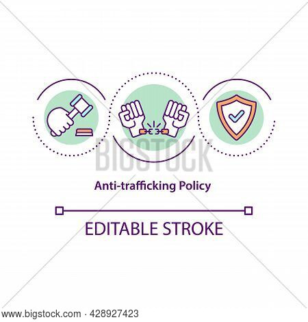 Anti-trafficking Policy Concept Icon. Measures To Prevent Human Trade Abstract Idea Thin Line Illust