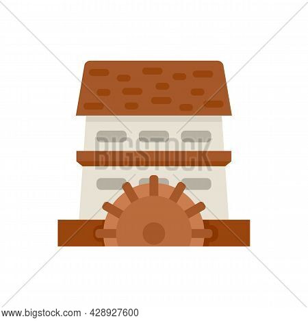 Waterwheel Mill Icon. Flat Illustration Of Waterwheel Mill Vector Icon Isolated On White Background
