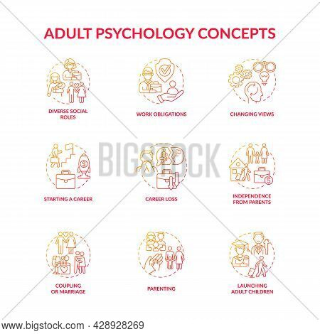 Adulthood Psychology And Social Relationship Concept Icons Set. Lifecycle Through Ups And Downs. Per