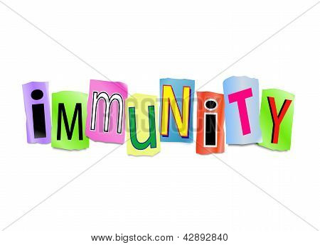 Illustration depicting cutout printed letters arranged to form the word immunity. poster