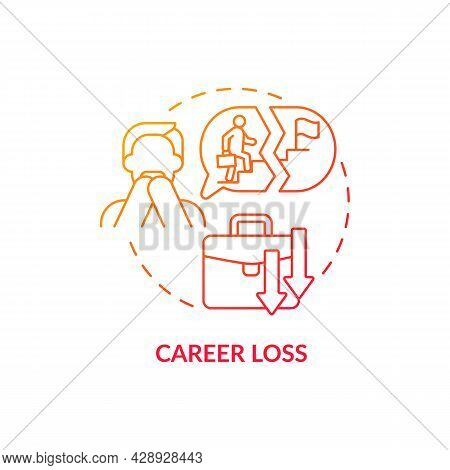 Career Loss Red Concept Icon. Unemployment Threat. Life Crush. Lost And Frustrated Man. Adulthood Tr