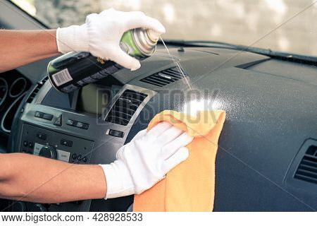 Cleaning The Car Interior. Cleaning Company. Car Interior Care Services.