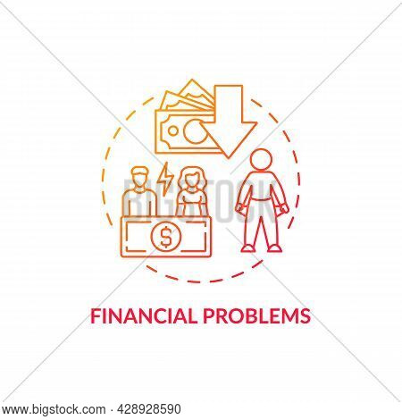 Financial Problem Red Concept Icon. Poor Budgeting. Money Management. Empty Pockets And Unemployment