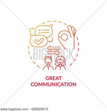 Mutual Trust Red Concept Icon. Intelligence Modern Couple Development. Friendship In Mature Relation