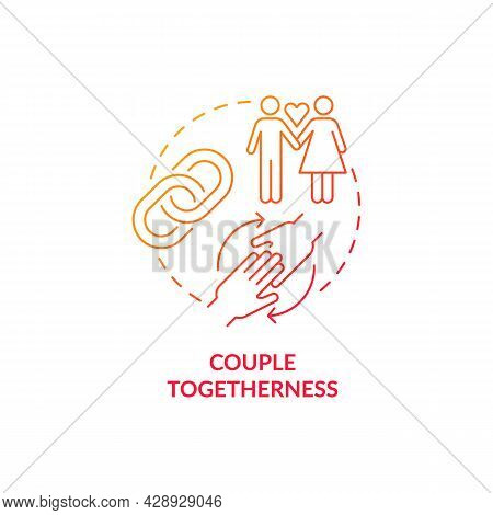 Couple Togetherness Red Concept Icon. Link Chain. Love, Support And Cohesion. Mature Relationship Fr