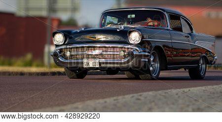 Rattvik, Sweden - July 27.2013: Classic Car Week Rttvik - 1957 Black Chevrolet Bel Air