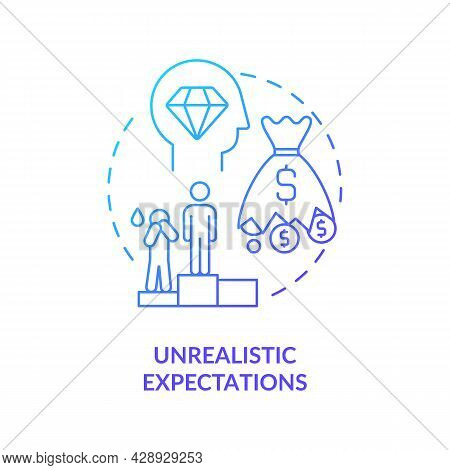 Unrealistic Expectation Blue Gradient Concept Icon. Problem Of Starting Company. Startup Launch Chal