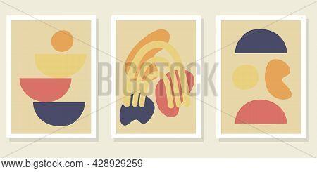 Abstract Contemporary Shapes Boho Posters. Trendy Mid-century Modern Art Poster Prints, Boho Minimal