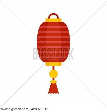 Silk Chinese Lantern Icon. Flat Illustration Of Silk Chinese Lantern Vector Icon Isolated On White B