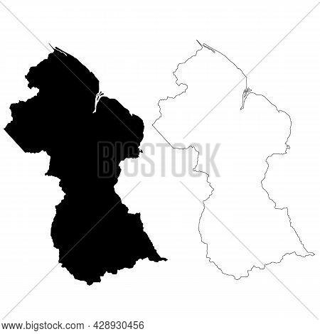 Guyana Map On White Background. Guyana State Symbol. Outline Guyana Map Sign. Flat Style.