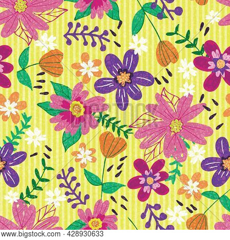 Seamless Childish Pattern With Colorful Doodle Flowers. Creative Kids Floral For Fabric, Wrapping, T