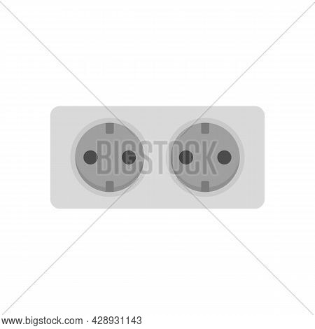 Double Wall Power Socket Icon. Flat Illustration Of Double Wall Power Socket Vector Icon Isolated On