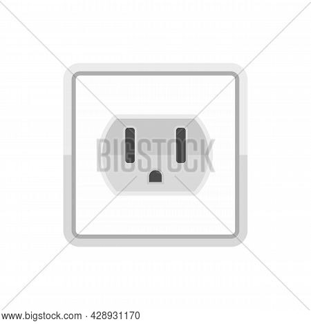 Device Power Socket Icon. Flat Illustration Of Device Power Socket Vector Icon Isolated On White Bac