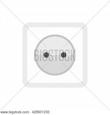 Cable Power Socket Icon. Flat Illustration Of Cable Power Socket Vector Icon Isolated On White Backg