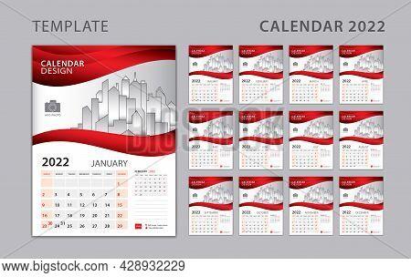 Calendar 2022 Template, Wall Calendar 2022 Year. Set Desk Calendar Design With Place For Photo And C