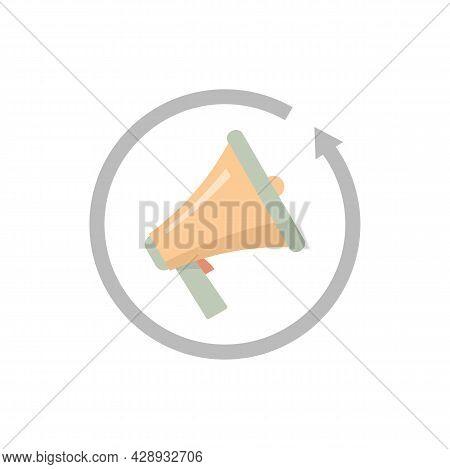 Review Marketing Megaphone Icon. Flat Illustration Of Review Marketing Megaphone Vector Icon Isolate