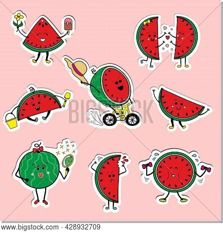 Funny, Cute Summer Emoticons Watermelons, Print For Children's Clothing, Stickers. Vector Characters