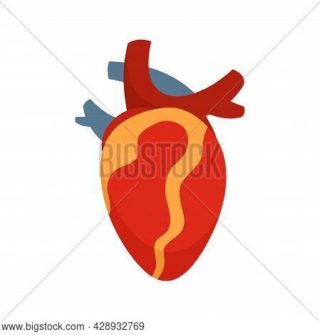 Anatomy Human Heart Icon. Flat Illustration Of Anatomy Human Heart Vector Icon Isolated On White Bac