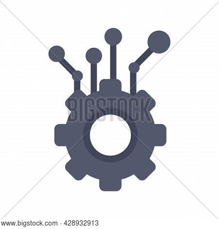 Gear Machine Learning Icon. Flat Illustration Of Gear Machine Learning Vector Icon Isolated On White