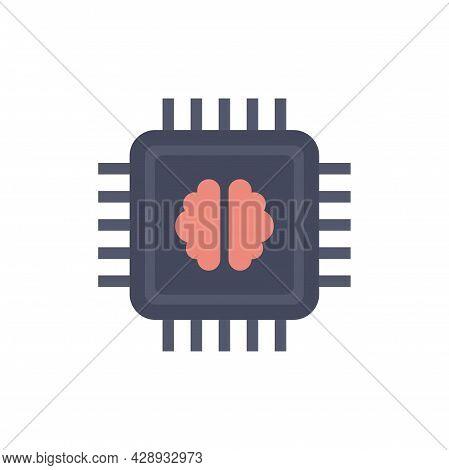 Brain Ai Processor Icon. Flat Illustration Of Brain Ai Processor Vector Icon Isolated On White Backg
