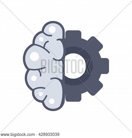 Gear Brain Ai Icon. Flat Illustration Of Gear Brain Ai Vector Icon Isolated On White Background