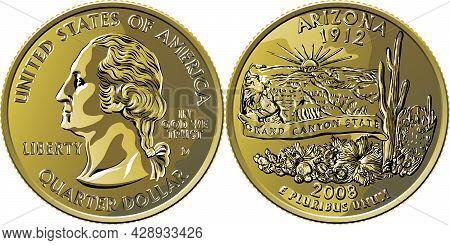 American Money, Usa Washington Quarter Dollar Arizona Or 25-cent Silver Coin, George Washington On O