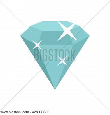 Shiny Game Diamond Icon. Flat Illustration Of Shiny Game Diamond Vector Icon Isolated On White Backg