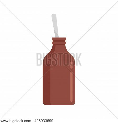 Cough Syrup Bottle Icon. Flat Illustration Of Cough Syrup Bottle Vector Icon Isolated On White Backg