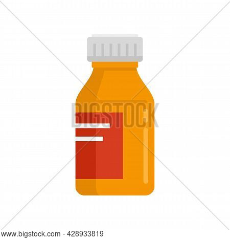 Medical Cough Syrup Icon. Flat Illustration Of Medical Cough Syrup Vector Icon Isolated On White Bac