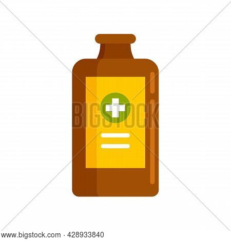 Healthcare Cough Syrup Icon. Flat Illustration Of Healthcare Cough Syrup Vector Icon Isolated On Whi