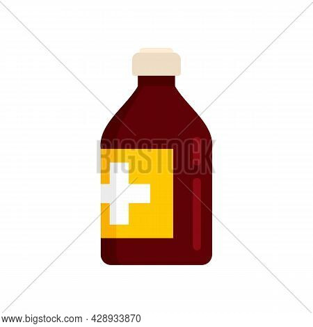 Vitamin Cough Syrup Icon. Flat Illustration Of Vitamin Cough Syrup Vector Icon Isolated On White Bac
