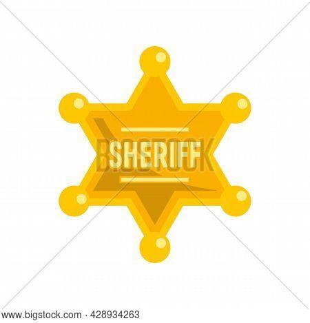 Sheriff Gold Star Icon. Flat Illustration Of Sheriff Gold Star Vector Icon Isolated On White Backgro