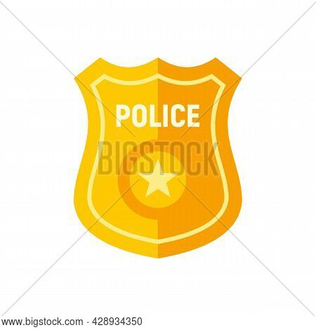 Police Gold Badge Icon. Flat Illustration Of Police Gold Badge Vector Icon Isolated On White Backgro