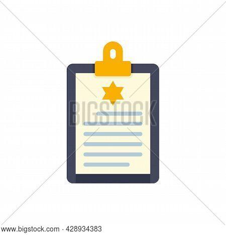 Policeman Clipboard Icon. Flat Illustration Of Policeman Clipboard Vector Icon Isolated On White Bac