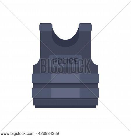 Police Bulletproof Vest Icon. Flat Illustration Of Police Bulletproof Vest Vector Icon Isolated On W