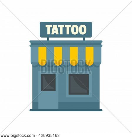 Tattoo Studio Building Icon. Flat Illustration Of Tattoo Studio Building Vector Icon Isolated On Whi