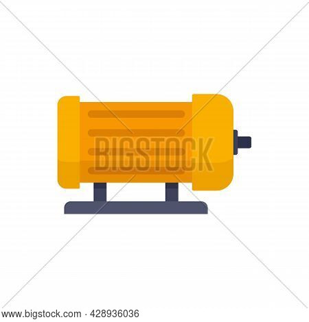 Industrial Electric Motor Icon. Flat Illustration Of Industrial Electric Motor Vector Icon Isolated