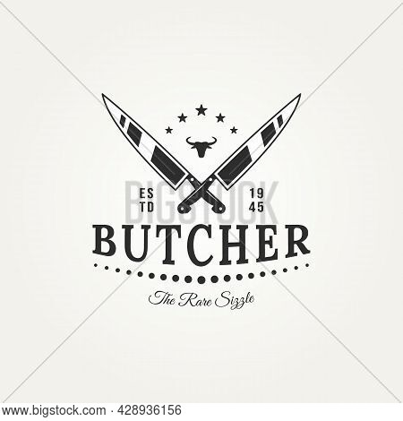 Butcher Meat Store With Cross Chef Knives And Bull Head Badge Logo Template Vector Illustration Desi